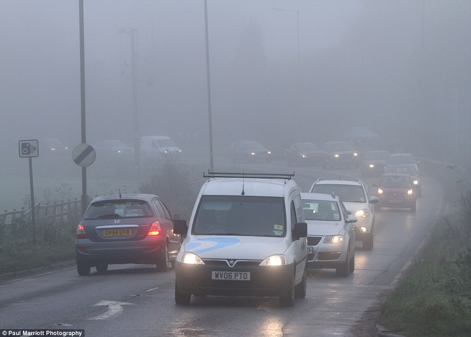 Dense fog added to misery on the roads for motorists in Peterborough, Cambridgeshire this morning after the region experienced heavy rain and flooding