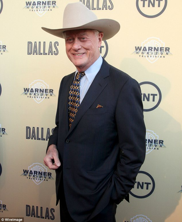 Relishing his role: Hagman, pictured in May, was delighted to be reprising his role as J.R. and announced he would be having treatment for throat cancer while working