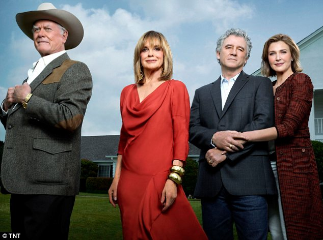 Doing what he loved: Hagman, seen with Linda Gray, Patrick Duffy and Brenda Strong, who plays his new wife Ann Ewing in the new version of the show