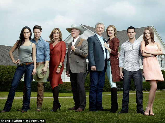 Revamped cast: (Left to right) Jordana Brewster, who plays the cook's daughter Elena Ramos, Josh Henderson, who is J.R.'s son John Ross, Gray, Hagman, Duffy, Strong, Jesse Metcalfe, who plays Christopher Ewing, and Julie Gonzalo, his fiance
