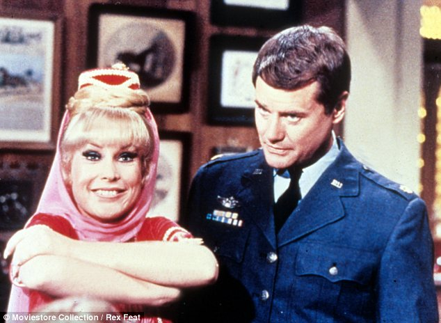 Talented: Hagman was also famed for playing Anthony Nelson in I Dream of Jeannie from 1965 to 1970. Here he is alongside Barbara Eden, who played Jeannie