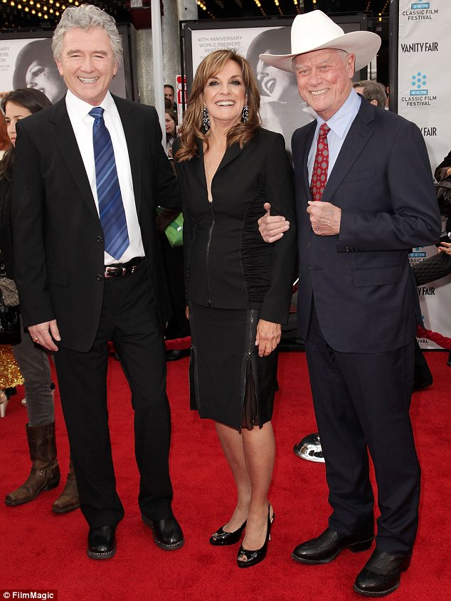 Together again: Hagman laughing away with Duffy and Gray on the red carpet at the 2012 TCM Classic Film Festival opening night gala in Hollywood in April