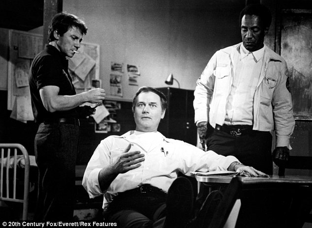 Star of the screen: Hagman with Harvey Keitel and Bill Cosby in Mother Juggs and Speed