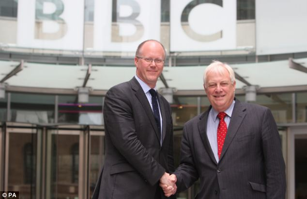 Former director-general George Entwistle (left) resigned 54 days after taking the job, offered by Lord Patten (right) after being overwhelmed by both the Jimmy Savile and Newsnight scandals