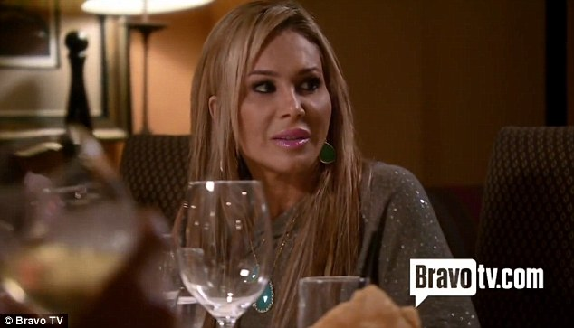 Pointing out the obvious: Adrienne Maloof tries to alert the other housewives to Kim's tears, much to Brandi's annoyance