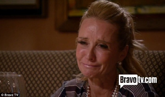 Tearful: Kim admits to Brandi that she gets lonely too on the episode which shows them all sitting down to dinner