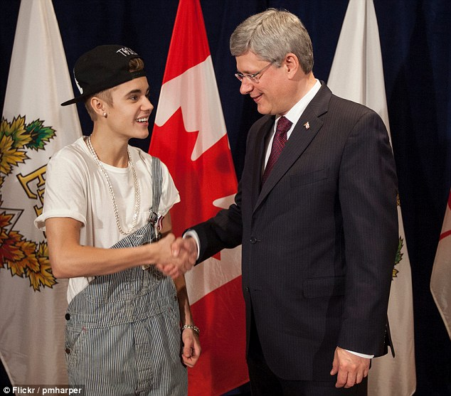 Backlash: Justin Bieber's choice of wardrobe at a national ceremony with Canadian Prime Minister Stephen Harper sparked outrage online
