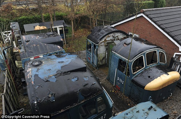 The house comes complete with four train engines weighing 20 tons in the back garden