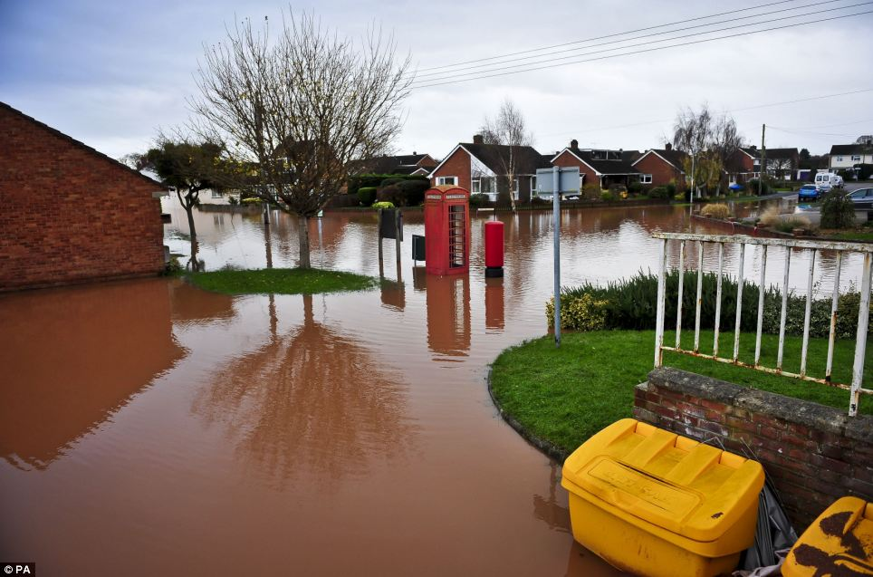 Deserted: The Somerset village of Ruishton, near Taunton, which has been flooded after the River Tone burst its banks