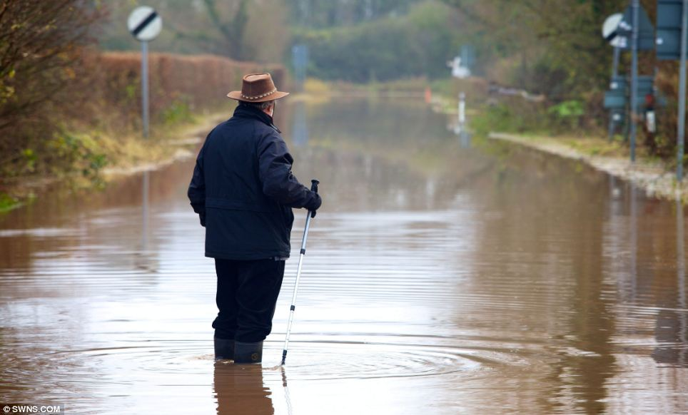 Submerged: Mike Marshall, vice chairman of Ruishton Parish Council, surveys the flood water hitting his village in Somerset