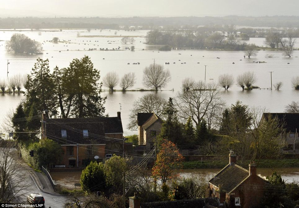 A view of last month's flooding from Burrow Mump, on the Somerset levels