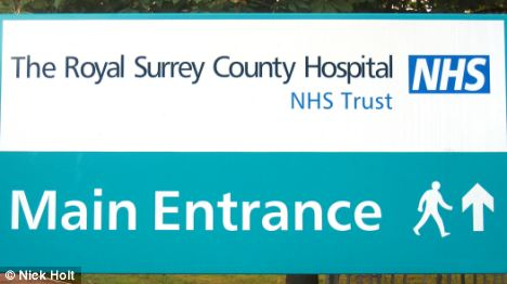 Main entrance to The Royal Surrey County Hospital