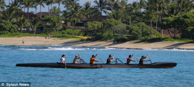 Armstrong has been spotted carrying out one of his favorite pursuits - canoeing in a traditional six-man outrigger canoe