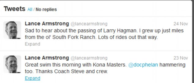 Armstrong's latest tweets have concerned his sadness at Larry Hangman's passing and his Ironman training in Hawaii