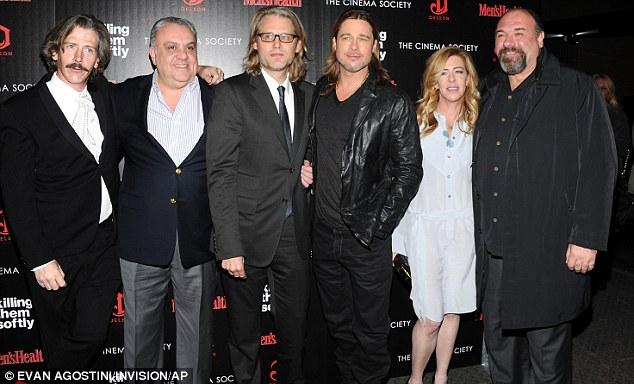 The cast: Actor Ben Mendelsohn, left, actor Vincent Curatola, director Andrew Dominik, Pitt, producer Dede Gardner and actor James Gandolfini
