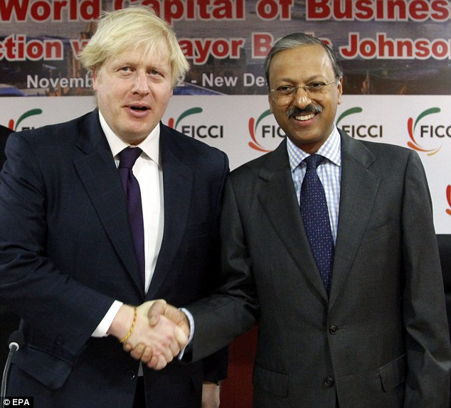Boris Johnson, seen here shaking hands with Harshpati Singhania, the Chairman Federation of Indian Chambers of Commerce, infuriated French socialists when he suggested companies should move to Britain