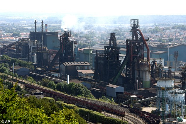 Site: The Arcelor Mittal factory in Hayange-Florange, eastern France at the centre of the crisis. A French government minister accused the company of lying to the government about its plan to shut the furnace