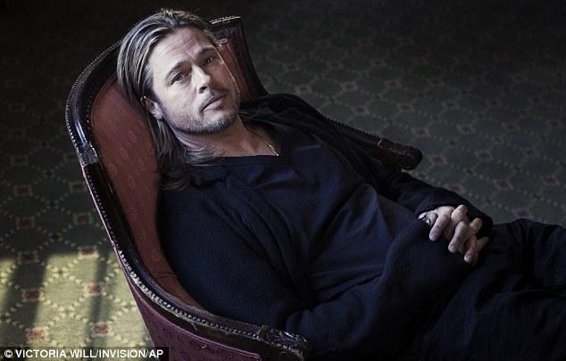 Sitting softly: Brad posed for some stills to accompany the film