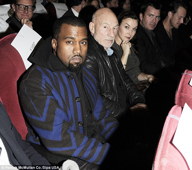 Star power: Kanye West and Star Trek alum Patrick Stewart get ready to watch the film