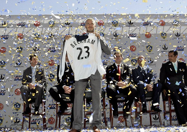 Back in the beginning: Beckham joined Galaxy and the MLS in a wave of publicity in 2007