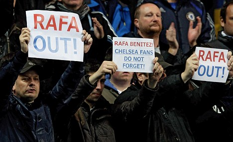 New regime: Chelsea fans voiced their anger over the appointment of Rafa Benitez this weekend