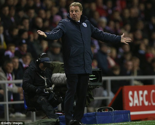 Welcome back: Harry Redknapp was on the touchline for the first time for Queens Park Rangers
