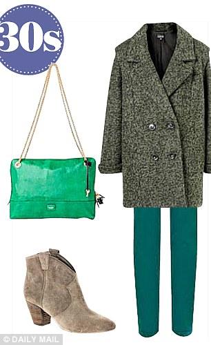 Coat, £89, Topshop,  topshop.com, Jeans, £35, oasis-stores.com, Boots, £145,  ashfootwear.co.uk, Bag, £220, jaeger.co.uk