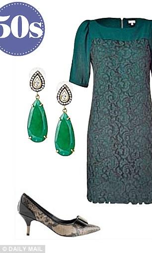 Earrings, £45,  stelladot.co.uk, Hoss Intropia lace dress, £214, stylebop.com Court shoes, £29.50,  Marks & Spencer, marksandspencer.com