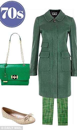 Dark green coat, £259, hobbs.co.uk, Linea bag, £49, houseoffraser.co.uk, Trousers, £200, jcrew.com, Beige pumps, £10,  M&Co, 0800 0317 200