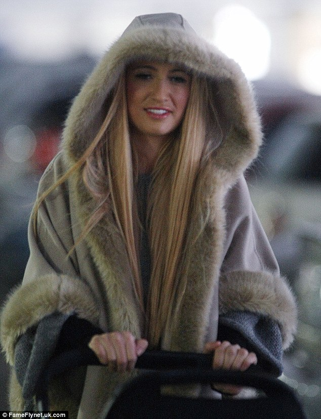 Winter wonderland: Chantelle looked great again when she stepped out on Wednesday with baby Dolly at Lakeside Shopping Centre in Essex