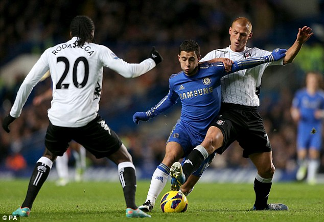 Crowded out: Chelsea playmaker Eden Hazard (centre) and Steve Sidwell (right) battle for the ball