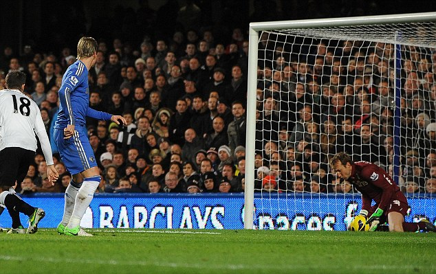 Shadow of his former self: Torres (second left) gets in a weak shot on goal
