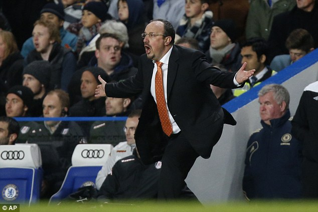 Powerless: Benitez grows more animated on the sidelines as Chelsea failed to find the target