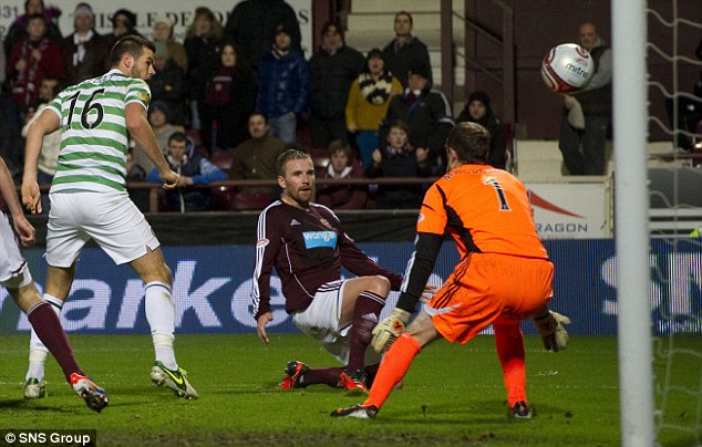 Bad timing: Ryan Stevenson (centre) puts the ball beyond his own goalkeeper to gift Celtic a third