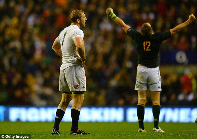 Wrong call: Robshaw had a tough decision to make during England's defeat against South Africa