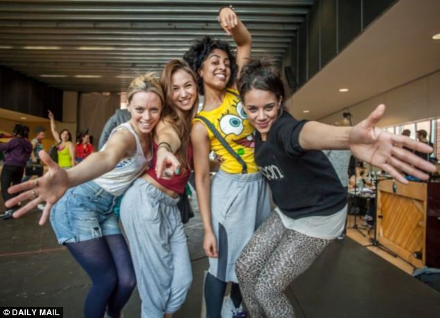Spicing up rehearsals (left to right) Lucy Phelps,  Dominique Provost-Chalkley, Siobhan Athwal and Hannah John-Kamen as Viva