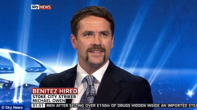 Top effort: Michael Owen has gone to great lengths with his handlebar style Movember moustache - and isn't afraid to show it off on TV