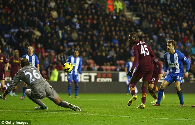 About time too: Balotelli struck his first Premier League goal of the season at Wigan on Wednesday night
