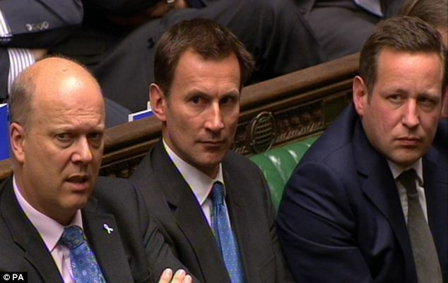 Mr Cameron said the report vindicated his decision to stand by his Cabinet minister Jeremy Hunt (centre) for his handling of the BSkyB deal when Culture Secretary