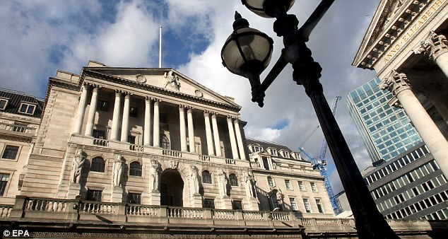 Crippling: The Bank of England (pictured) has revealed that the average overdraft has reached a record of 19.65 per cent