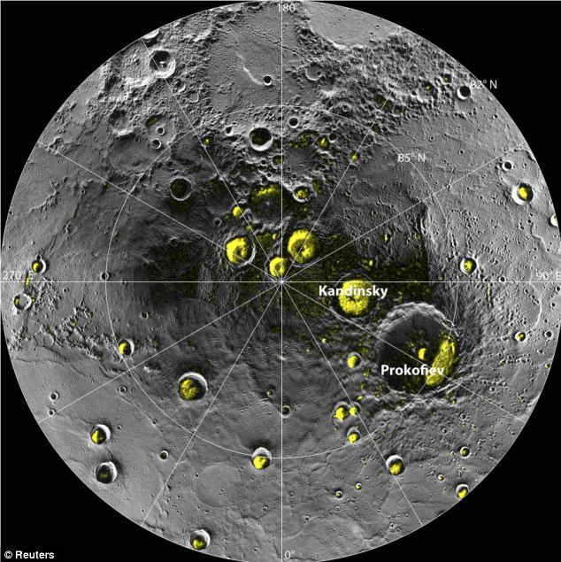 A radar image of Mercury's north polar region. Yellow areas denote regions of high radar reflectivity. Since their discovery in 1992, these polar deposits have been hypothesised to consist of water ice trapped in permanently shadowed areas