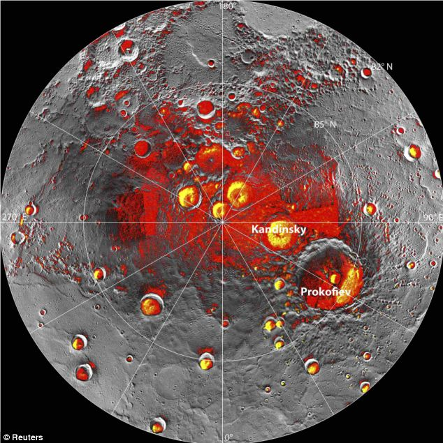 Radar image: The red shows areas of Mercury's north polar region that are in shadow in all images acquired by MESSENGER to date. They are believed to contain ice
