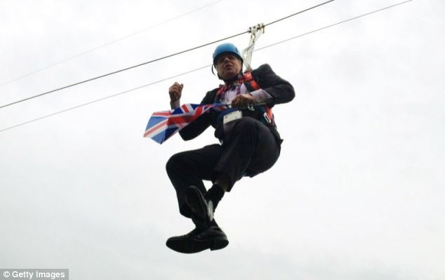 Mr Johnson ended up dangling from a zipwire in London's Victoria Park in August when a publicity stunt at a public viewing area for the Olympic Games went awry leaving him stranded some 15 feet off the ground