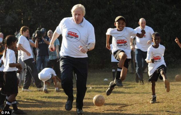 Charity: Boris visited the Magic Bus project, which uses sport to engage children on the edges of society in education and improving life skills