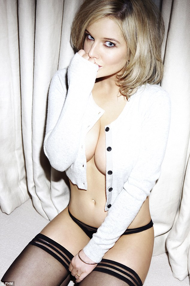 Racy: Helen Flanagan showed off her incredible figure in a revealing shoot for FHM's 2013 calendar, with just a skimpy cardigan and a pair of G-string briefs preserving her modesty