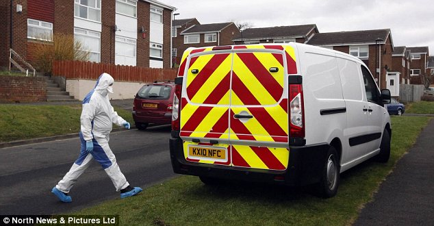 Neighbours complained of a disturbance: The scene on Tewkesbury Road, Newcastle, after Sarah Gosling was knifed to death by her partner. Police had attended hours before the attack but left after the couple reassured them