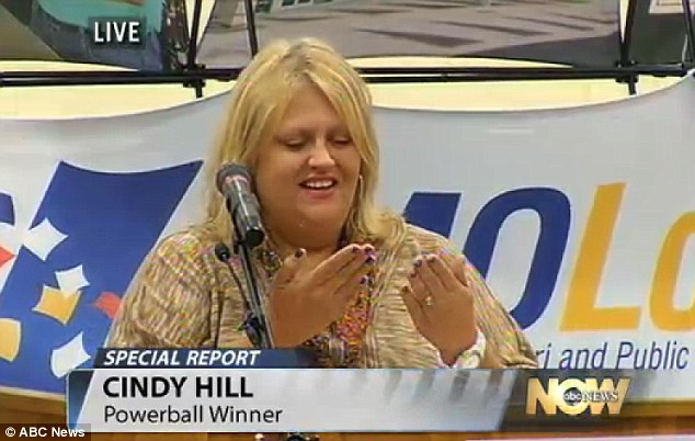 Shock: Cindy Hill recounted her disbelief at realising she had the correct numbers, wining $294 million