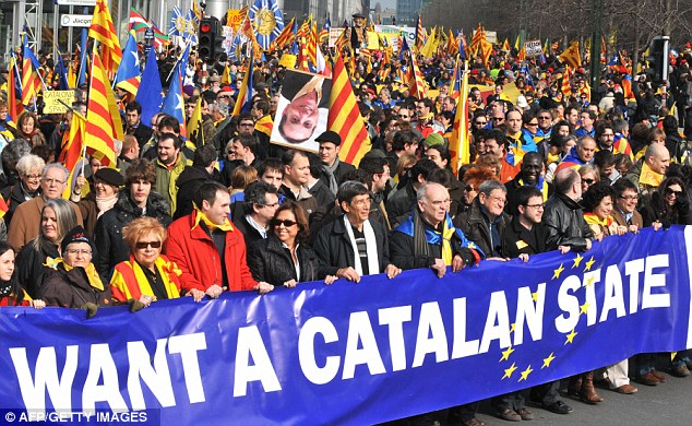 Catalan homeland: Many in the region have long campaigned for independence as seen here as they demonstrated in Brussels in 2009