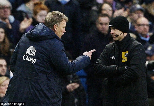 Annoyed: Everton manager David Moyes (left) remonstrates with fourth official Anthony Taylor