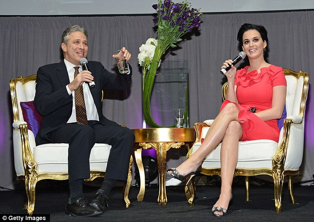 Time for a chat: TV personality Jon Stewart got to interview Katy at the event